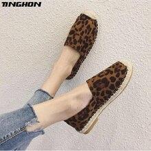 TINGHON Fashion Women Ladies Espadrille Shoes Canvas Leopard Hemps Fisherman Flats