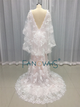 Sexy Boho Wedding Dresses 2017 Flower Beads Lace Summer Beach Bridal Gown Mermaid Wedding Dress with Cape Robe de Mariage MA04