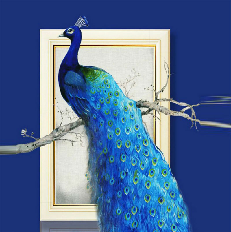 5D DIY Cross stitch diamond embroidery The new rich peacock Figure Crystal round stone diamond Home decorative painting