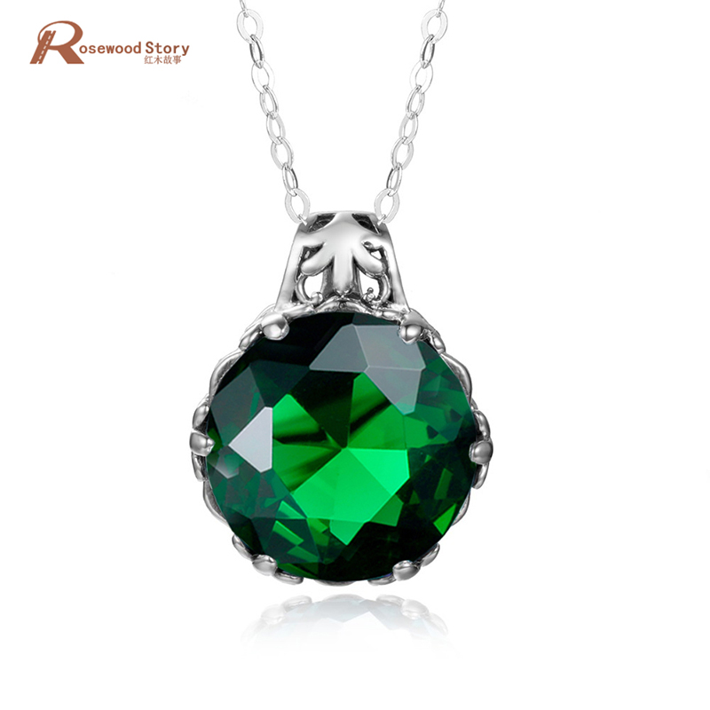 Vintage Jewelry Gift Luxury Handmade Green Rhinestone CZ Pendants 100% Solid 925 Sterling Silver Necklace Pendant For Women vintage rhinestone circle necklace for women