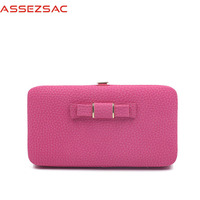 Assez Sac Fashion Bow Solid PU Leather Women Wallet Popular Concise Casual Lady Lovely Versatile Girls