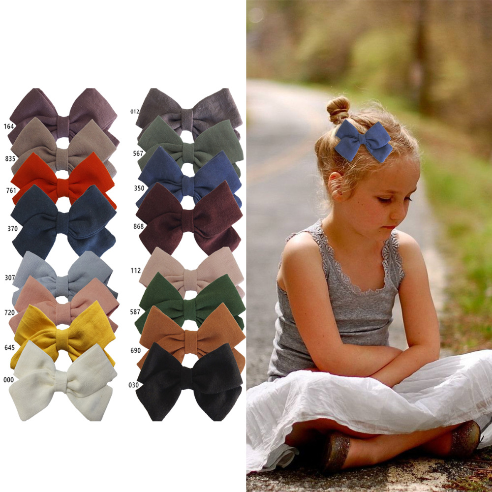 Cotton Fabric Bow Clips Boutique Hair Bows Hair Clips Hand-Tied Bow Hair Barrettes Hairbow Hairgrips Kids Girl's Hair Accessory