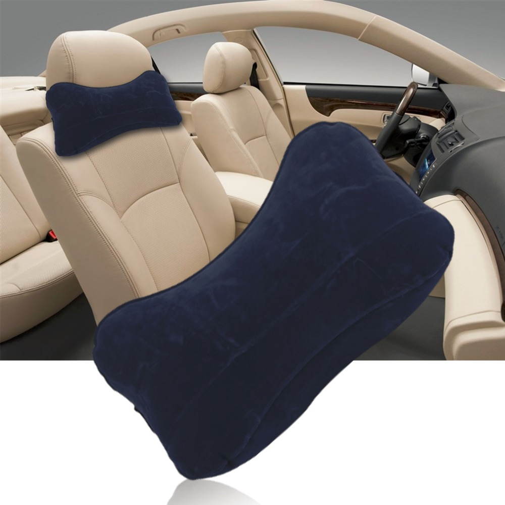 Car-styling Car Home Use Flocking Fabric Inflatable H Shape Pillow Comfortable Sleep Pillows Neck Pillow Travel Accessories Hot