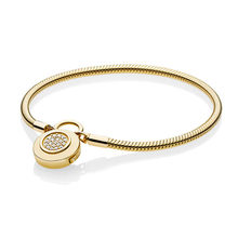 Women DIY Jewelry 925 Sterling Silver Snake Chain Fit Shine Gold Moments Smooth Bracelet With Branded Signature Padlock Clasp(China)