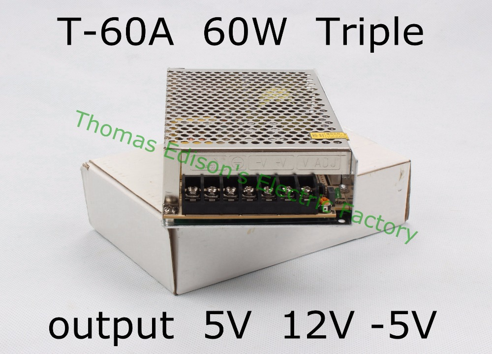 Triple output power supply 60w 5V 5A, 12V 2.5A,-5V 0.5A power suply T-60A  ac dc converter good quality