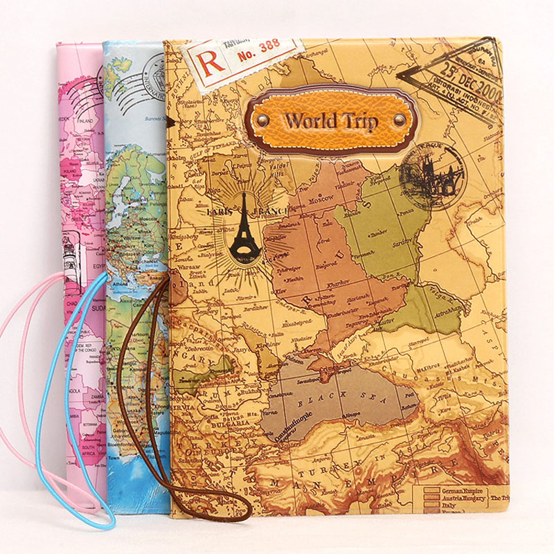 OKOKC 3D World Map Passport Cover Fashion PVC Leather Passport Holder Case Travel Abroad Package Travel Accessories