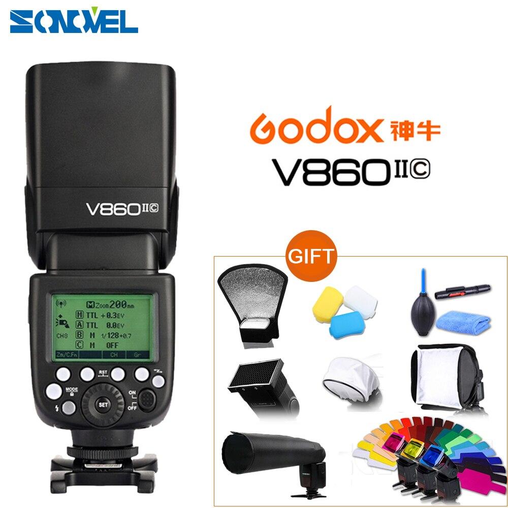 Bateria de Flash Velocidadelite para Canon 7d2 + 10 Godox Ving E-ttl 1 – 8000 Li-ion 850d 800d 760d 7d 5ds 5d4 6d2 5d3 Presente Kit V860ii-c Hss