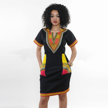 Wholesale Traditional African Dashiki Cocktail Ethnic Women's Party Midi Dresses O- Neck Patchwork Female Mini Club Pencil Dress