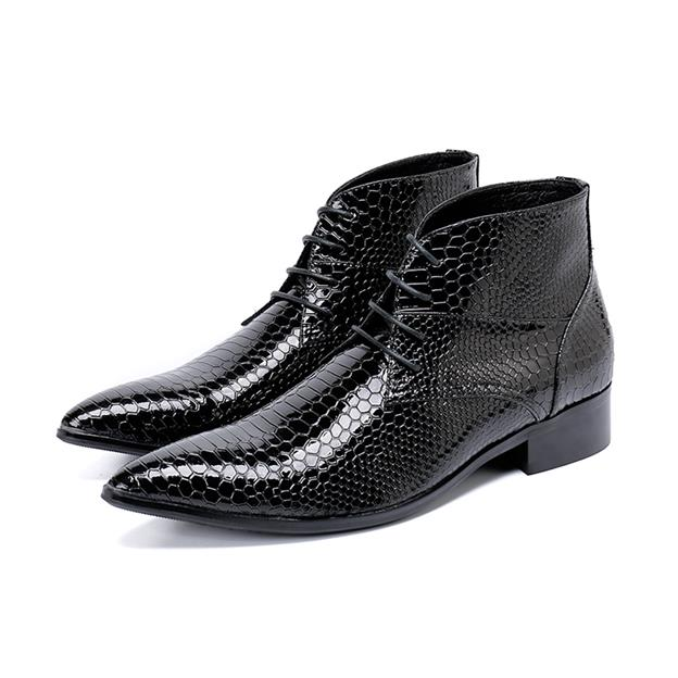 Botines Hombre European style snake skin print patent leather military boots black lace up ankle boots men cowboy boots mensBotines Hombre European style snake skin print patent leather military boots black lace up ankle boots men cowboy boots mens