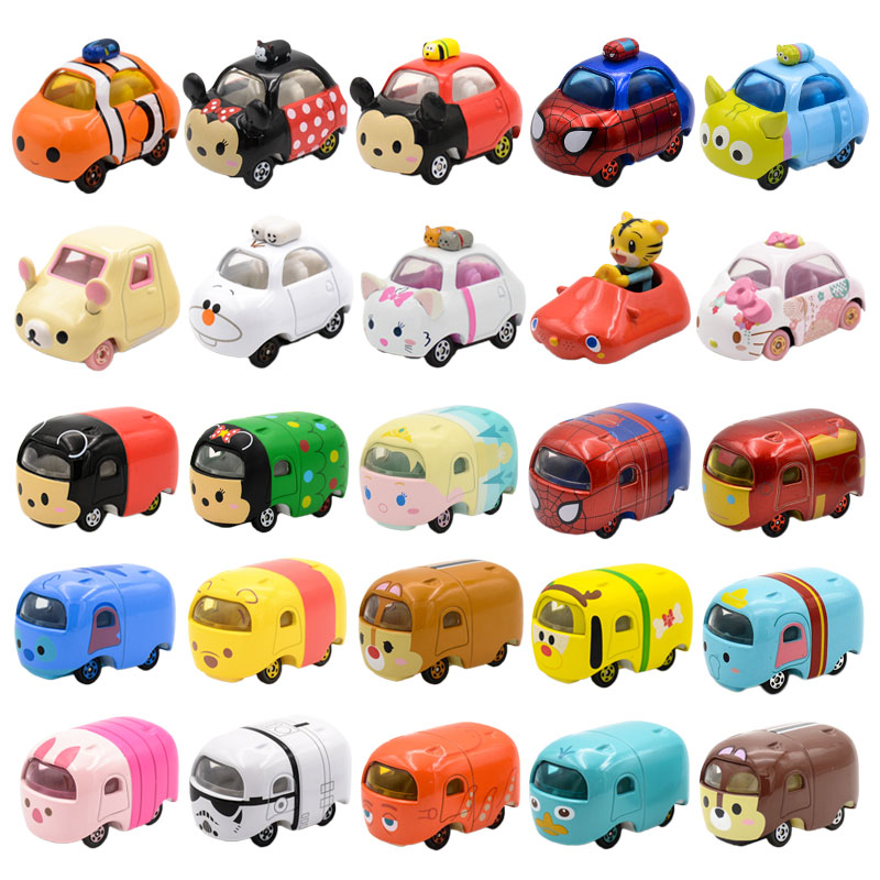 DISNEY Tomica Car Mickey Froze.n Elsa Anna Minnie Stitch Winni Diecast  Toys Metal Model Car Birthday Gift For Kids Boy