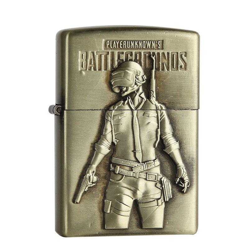 1PC 3D Printing PUBG Cigarette Lighter Playerunknown's Battlegrounds Figure Kerosene Oil Lighter Chicken Dinner Smoker Gifts