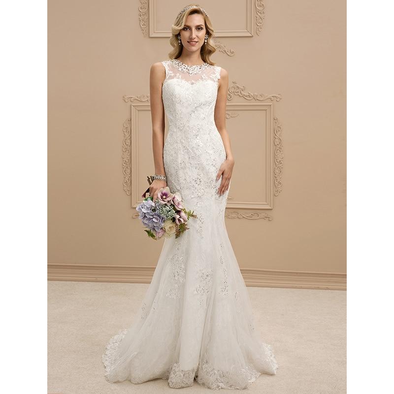 LAN TING BRID Mermaid Wedding Dress Trumpet Illusion Neckline Sweep ...