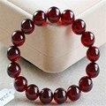 11mm Preciosas Genuinas Vino Rojo Granate Piedra Natural de Cristal de Cuarzo Pulsera Para Las Mujeres Stretch Charm Bracelet Femme