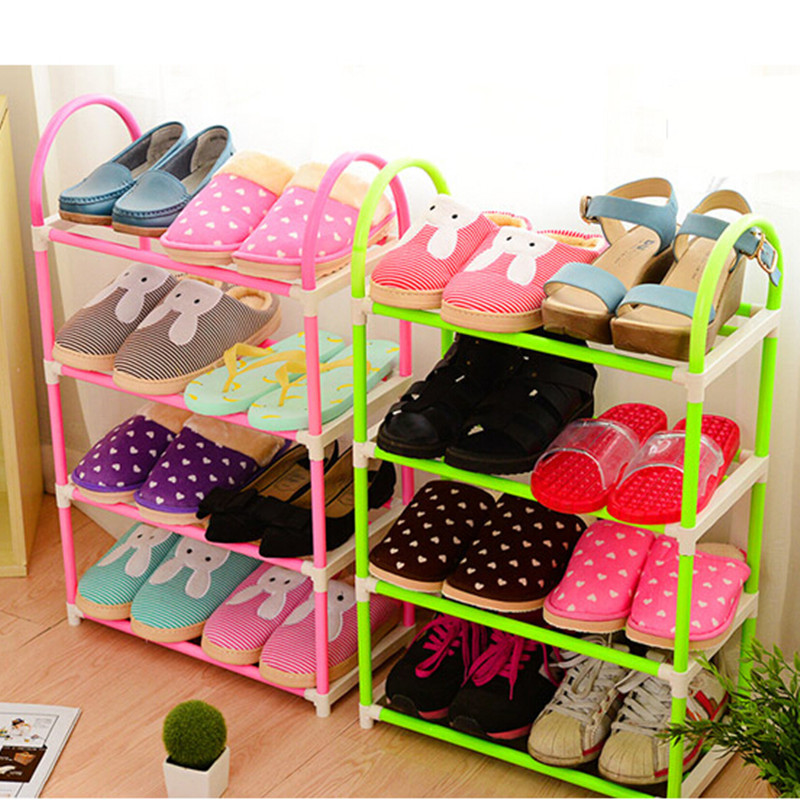 Space Saving PP Plastic 4 Tier Shoe Rack Shelf Organizer Stand Holder Easy Assembled corner shelf for home decoration