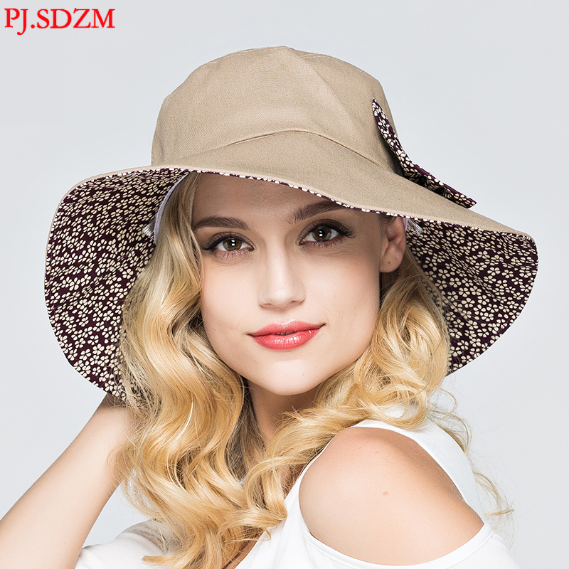 PJ. SDZM Femmes D'été Chapeaux de Soleil UV-Résistant Coloré Parasol Cap Large Bord Chapeaux de Voyage
