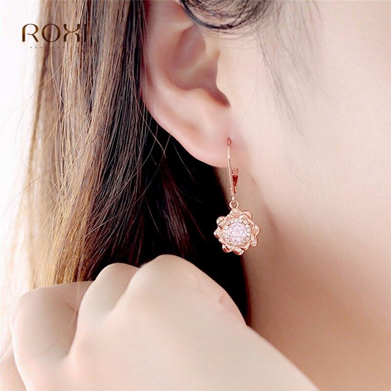ROXI Shiny Rhinestone Flower Earrings Vintage Pink Crystal Dangle Earrings Women Personality Statement Drop Earrings Jewelry in Drop Earrings from Jewelry Accessories