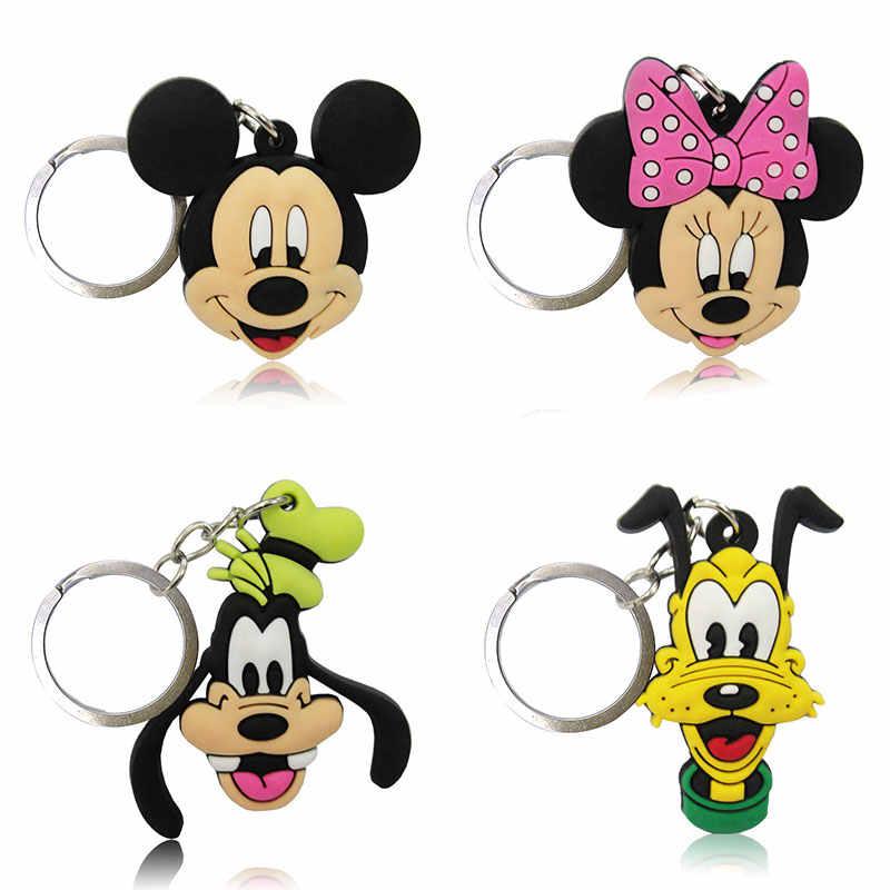 1-4PCS PVC Key CHAIN รูปการ์ตูน Mickey อะนิเมะ Minnie กุญแจแหวนของเล่นเด็กจี้ Keychain Key Holder แฟชั่นเครื่องประดับ