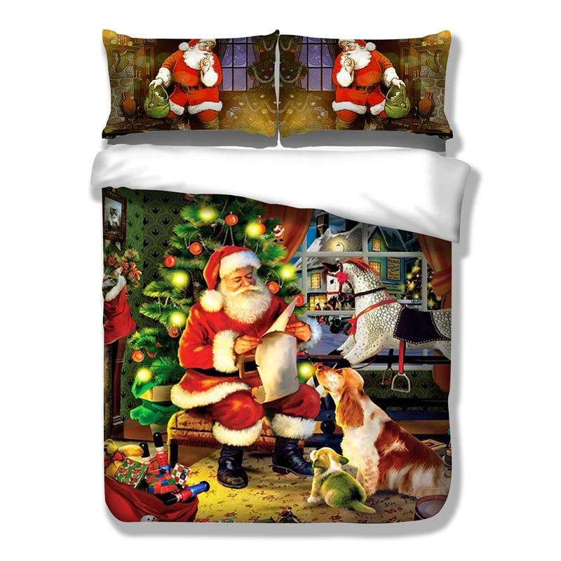 3Pcs duvetcover+2 pillowcase Pillowcase48x74cm/19x29in Cartoon Santa Claus Christmas Bedding Set Twin Queen King Size sj72