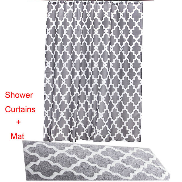 180x180CM Water Repellent Fabric Shower Curtains Liners 45x120CM ...
