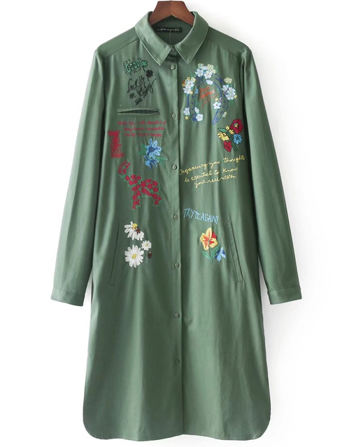 e41303fafab9b Women Long Sleeve Embroidered Military Green Long Shirt And Blouse,  Boyfriend Style Camisa Blusa Feminina Femme Mujer Clothing
