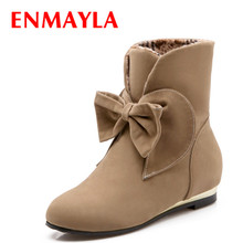 new sweet bow women boots shoes Fashion s for Platform High motorcycle ladies snow size 34-43