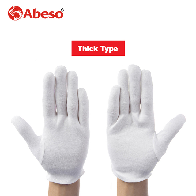ABESO 12 pairs/lot White 100% Cotton Ceremonial gloves for male female Serving / Waiters/drivers/Jewelry Gloves A6001