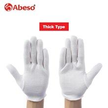 Abeso 12 пар/лот белый 100% хлопок торжественное Перчатки для мужской женский сервировочные/официанты/драйверы/Jewelry Прихватки для мангала A6001