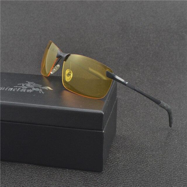 Visão noturna Óculos De Sol Para Homens Clássico Quadrado De Vidro Semi-Sem  Aro Polarizada c6bdfdadb8