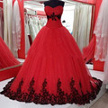 Sweetheart Red and Black Applique Ball Gown Lace Wedding Dress 2017 Princess Tulle Bridal Vestido Custom Made Draped Real Image