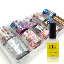 1 Box 2.5*100cm Laser Starry Holographic Nail Foil Set Sticker Nails Foils Art Kits with Free Star Glue Stencil Decal
