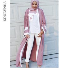 2019 Abaya Robe Dubai Uae Front Open Muslim Kimono Dress Long Sleeve Qatar Uae Hajj Pink Modest Clothing Moroccan Caftan D506(China)