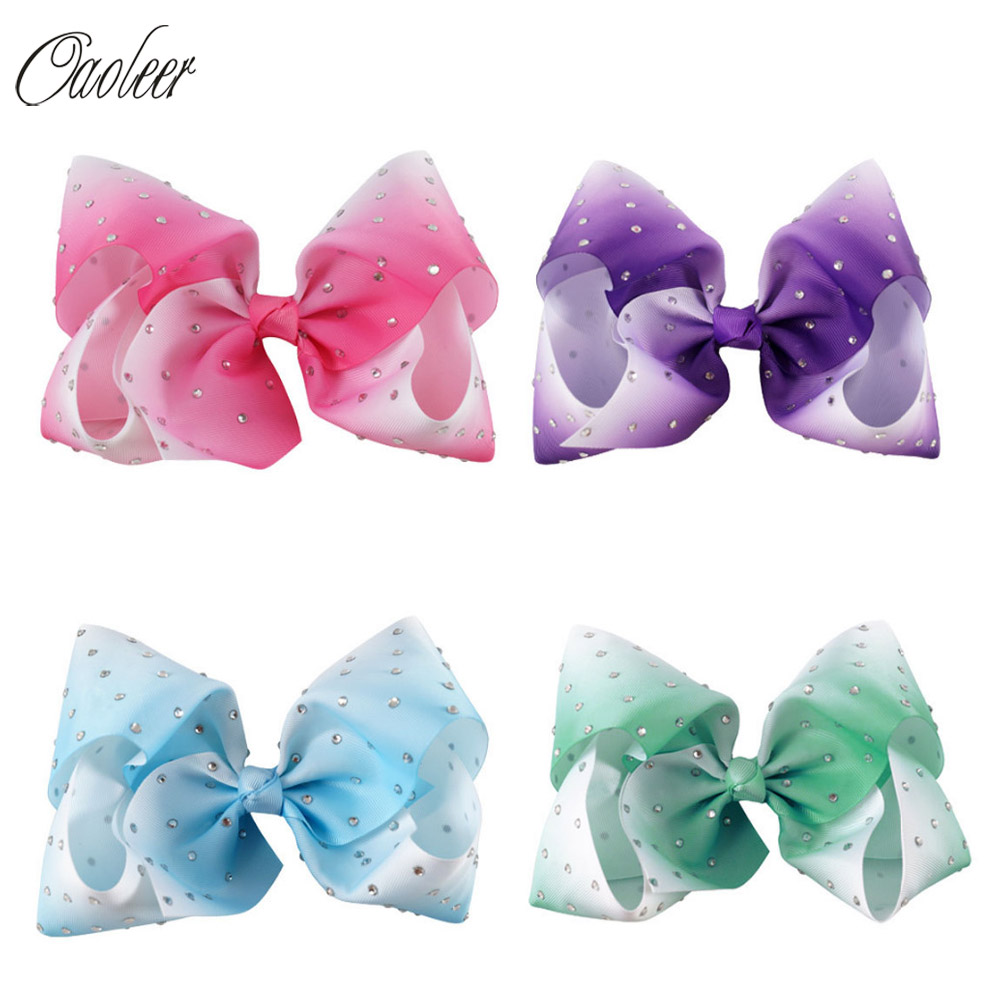 4pcs/lot 7 Large Ombre Full Rhinestone Hair Bow With Clip Girl Dance HairPin Boutique Hair Accessories For Kids free shipping 10pcs lot new double satin bow hair clip rhinestone bowknot hairpin girls kids barrette