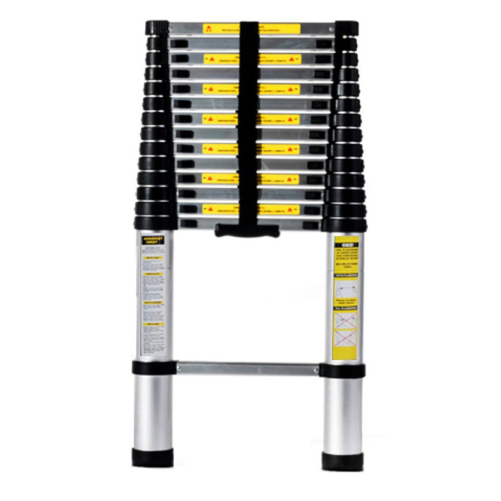 4.4M Length 3.2M Thickening Aluminum Retractable Ladder Multifunctional Folding Single Telescopic Ladder Home Tool