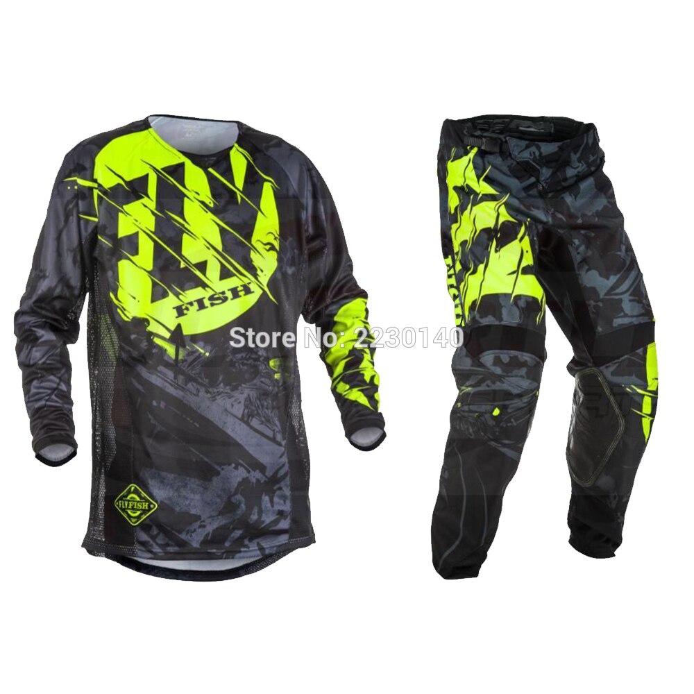 NIEUWE Fly Vis Racing Motocross MX Racing Pak Broek & Jersey Combo Moto Dirt Bike ATV Gear Set Rood/ zwart/geel - 3