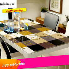 1mm waterproof oil proof plastic PVC tablecloth soft glass tablecloth fashion pvc table linens black non-slip table mat cover