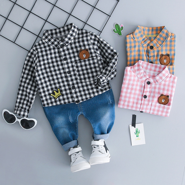 WENWENDEXINGFU 2018 Autumn Baby Infant Clothing Sets Girl Boy Clothes Suits Grid Bear Shirt Jeans Casual Kid Child Clothes Suits