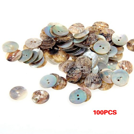 New 100 x 15 mm Pearl Mussels Round Buttons