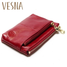 New TAUREN Small Wallet Genuine Leather Women Mini Wallet Oil Wax Leather Coin Purse Coin Credit Card Holder With Metal Ring allison j the business 2 0 advanced c1 student s book