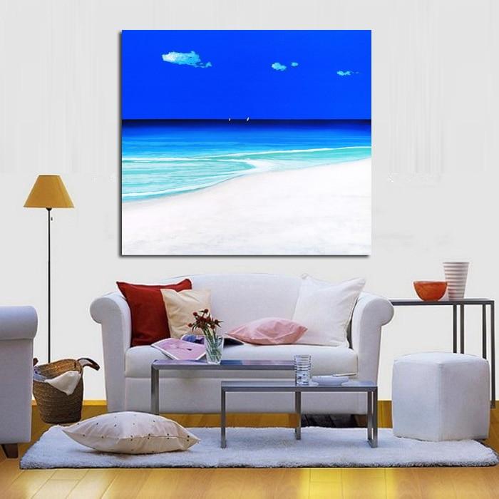 Moderní abstraktní umění Modré nebe Přímořský pohled Olejomalba Abstraktní ručně malované nástěnné umění na plátně Nástěnné samolepky Obrázky Domů Dekor