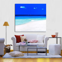 Modern Abstract Art Blue Sky Seaside View Oil Painting Abstract Handpainted Wall Art on Canvas Wall Stickers Pictures Home Decor