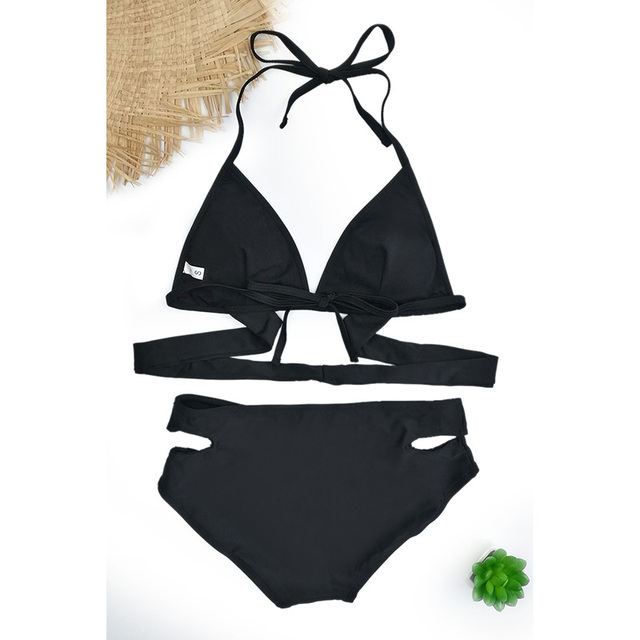 2019 Push-Up Bikinis Sexy black bandage design Halter bikini swimsuit women High Waist  Women's swimwear swimming trunks D083 2