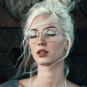 Lunettes rondes cadre femme hommes lunettes rétro myopie montures optiques métal clair lentille noir argent or lunettes Oculos De Grau