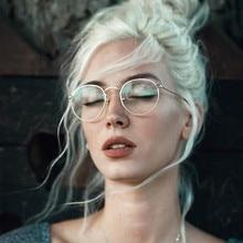 3e118d645 Óculos redondos Óculos de Armação Mulher Homens Óculos de Miopia Retro Armações  de Metal Ouro Prata