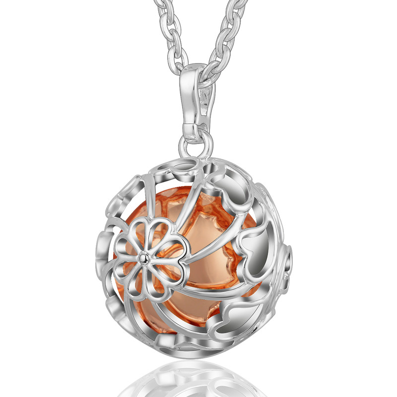 K124 Silver Copper Metal Angel Caller Bola Pendant with 20MM Chime Ball Mexcain Bola Eudora Harmony Ball Jewelry Gift