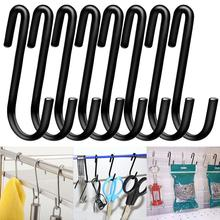 4/8Pcs S-shaped Hooks Stainless Steel Hanging Hooks Kitchen Bathroom Hanging Hanger Holders Organizer Clothes Storage clear s shape kitchen hanger clothes hooks clasp holder plastic hanging hooks
