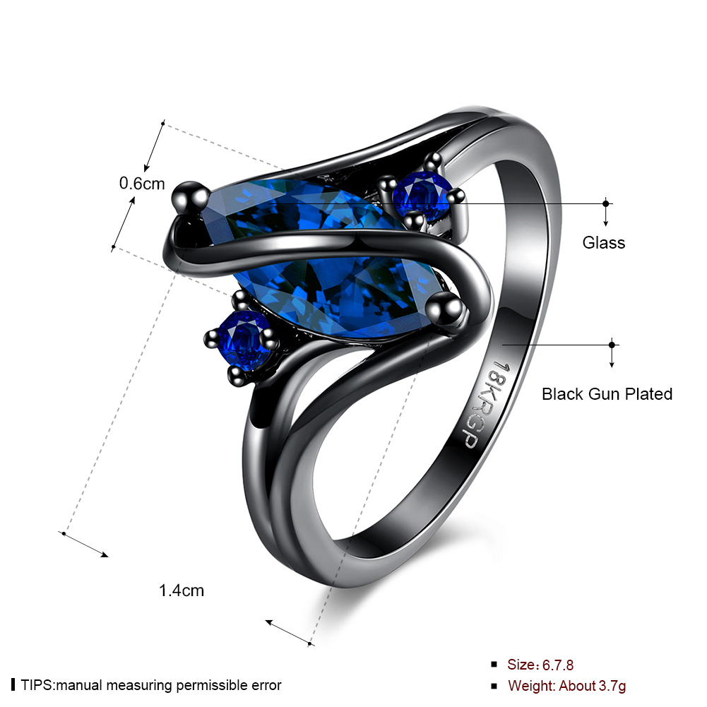 New Design Jewelry Shinny Blue Cubic Zirconia Anniversary Romantic S Letter Black Gun Plated Lady Finger Rings For Women