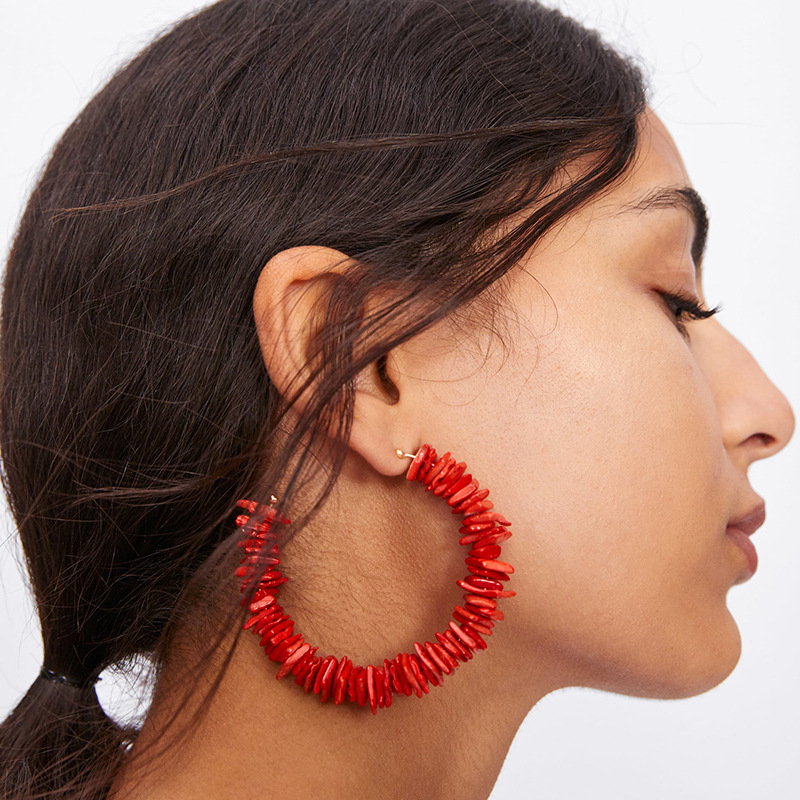 2019 New Handmade Red Dangle Earring European American Exaggerated Gem C Drop Earrings For Women Ethnic Statement Jewelry