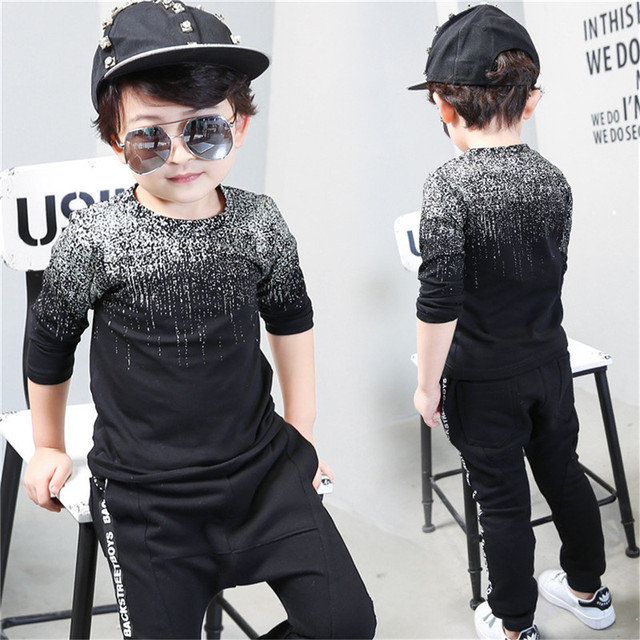 2017 Brand Children Autumn Long Sleeve Tops Boys Clothes Striped Kids T Shirts For Boy Baby Boy T-shirts black print