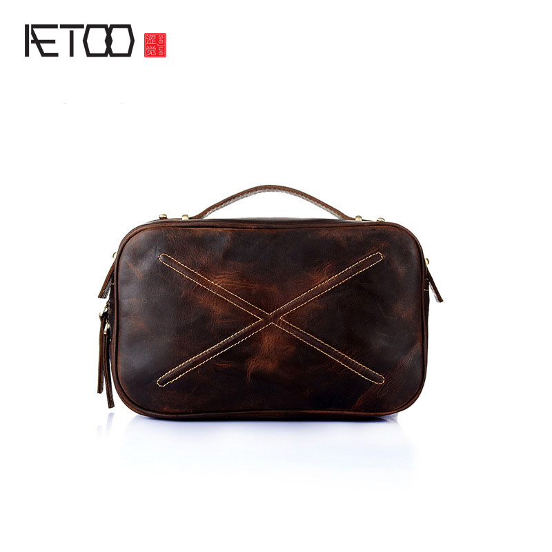 AETOO New leather handbags head cowhide handbag retro mad horse leather shoulder Messenger bag small square bag aetoo the new mad horse leather men bag retro handbags men s leather shoulder messenger business cowhide briefcase computer bag