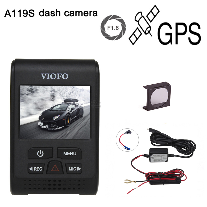 Original VIOFO A119S Upgraded V2 2.0 Super Capacitor Novatek 96660 HD 1080p GPS Car Dashcam Camera DVR CPL hardwire cable